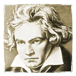 A portrait of Ludwig von Beethoven