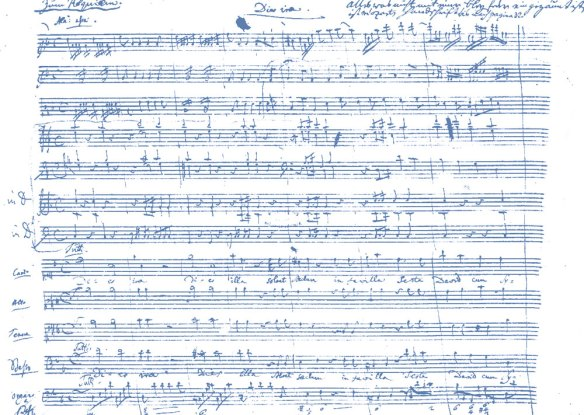 Picture of the original score for Mozart's Requiem, at the start of the Dies Irae