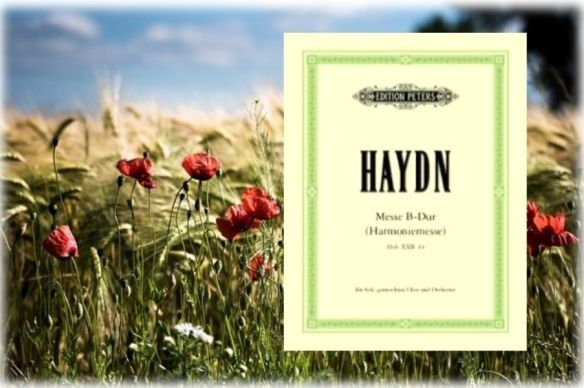 Image of a summer field and the music schore of Haydn's Harmony Mass
